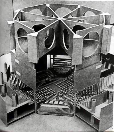 A cut-away model of Louis Kahn's parliamentary building in Dhaka, Bangladesh.