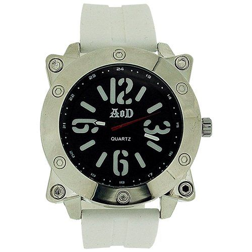 Angel Or Demon Mens/Boys Large Black Dial White Silicone Strap Everyday Watch