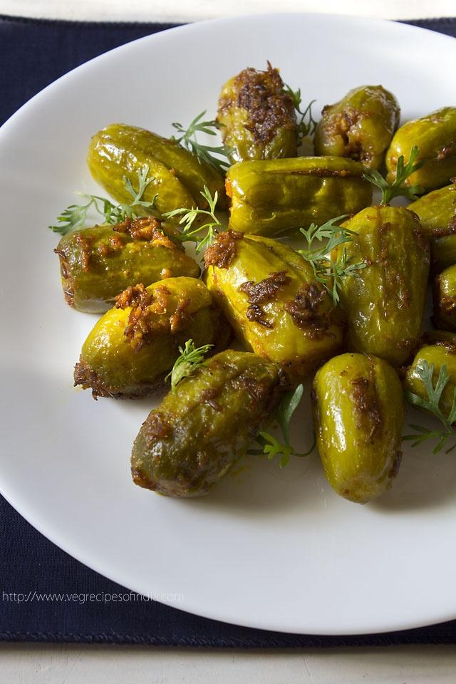 bharwan tindora/tendli – stuffed ivy gourds with indian spices #bharwantindora #bharwantendli #tindora #tendli #ivygourds