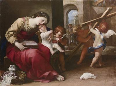 Raffaello Vanni. Мадонна с Mладенцем и младенцем Иоанном Крестителем, со Святым Иосифом и двумя ангелами объявляет о распятии. По Raffaello Ванни.