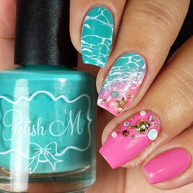 252 best tropical summer ocean nautical water mermaid manis turquoise and pink beach inspired nails prinsesfo Image collections