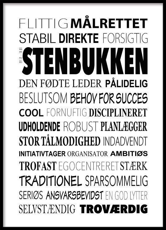 Stenbukken Plakat - Tekstcollage med stikord