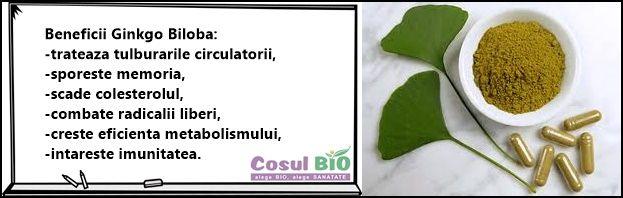 Beneficii Ginkgo Biloba: -trateaza tulburarile circulatorii, -sporeste memoria, -scade colesterolul, -combate radicalii liberi, -creste eficienta metabolismului, -intareste imunitatea.