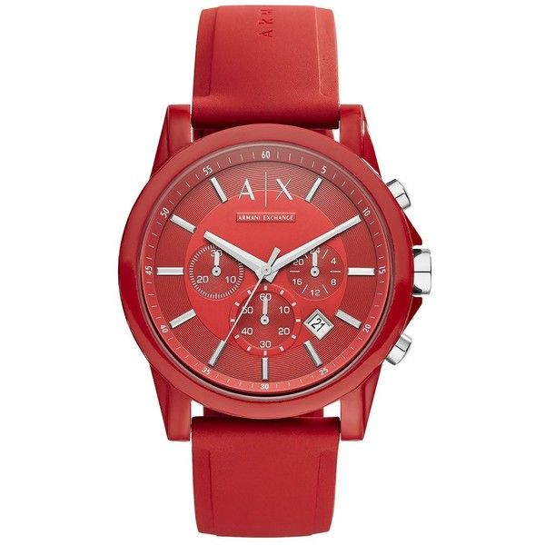 Armani Exchange Men's AX1328 Nylon and Silicone Watch (£90) ❤ liked on Polyvore featuring men's fashion, men's jewelry, men's watches, red, mens watches, mens silicone watches, blue dial mens watches, mens red watches and mens watches jewelry