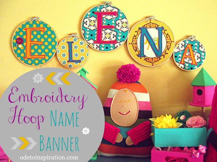 Embroidery Hoop Name Banner Tutorial