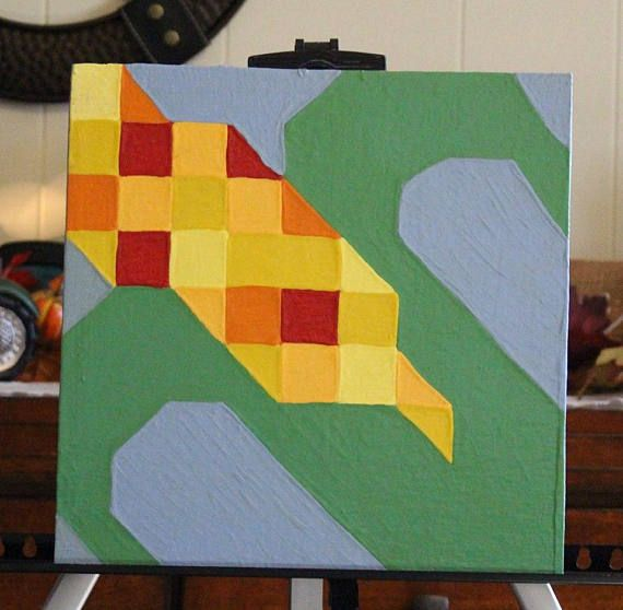 This is a corn barn quilt made to hang outside, exterior paint, and clear coat on 1/2 inch plywood to withstand all that Mother Nature will provide. It should last for many years to come and make any structure just as beautiful as the first day it was hung. Not only can these barn