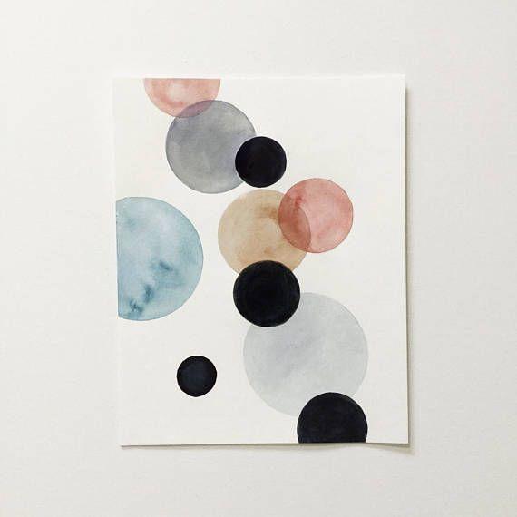 Scandinavian Style Art Blush Black Abstract Art Print Minimalist Watercolor Painting Modern Nursery Wall Art Pastel Geometric Art Zeichnen Kunst Malen