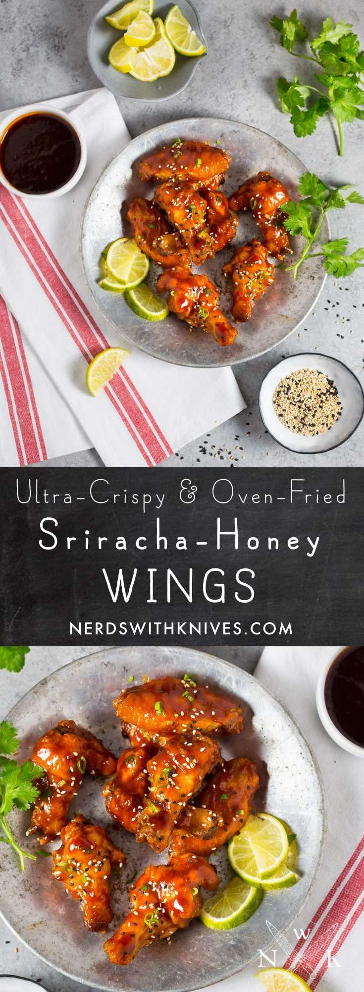Seriously crispy and coated with a sweet and spicy Sriracha-honey glaze, these oven-baked wings rival fried ones any day. This is game day food done right.