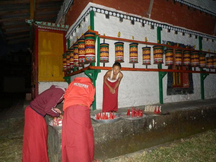 Monks Preparing for Next Day Ceremony at Tashiding Monastery near Pelling in Sikkim India. http://www.TaoJourneys.com