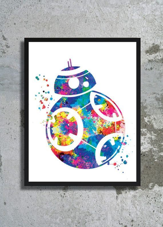 Star Wars Art bb 8 Watercolor Print Star Wars Painting Star Wars The Force Awakens Poster BB 8 print Children's room boy gift Fantastic art