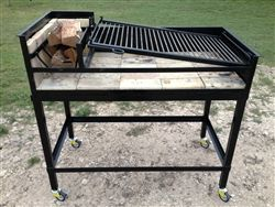 Maple is a Uruguayan Grill for Wood or Charcoal Grilling with Side Brasero (54 X 27.5 X 6) Adjustable Grill Angle for multiple grilling temperatures & Brasero