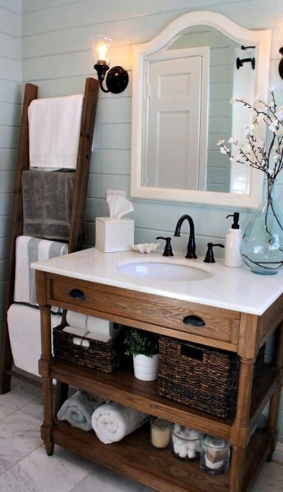 Loving this bathroom: ladder for linens, nice rustic but chic vanity, pretty…