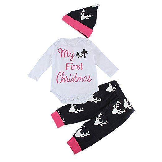 Weihnachten mit Baby - First Christmas Body Outfit - Weihnachtskostüm, Geschenke, Weihnachtsgeschenk für Baby und Kinder
