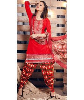 Georgeous Red Cotton Patiala Suit.