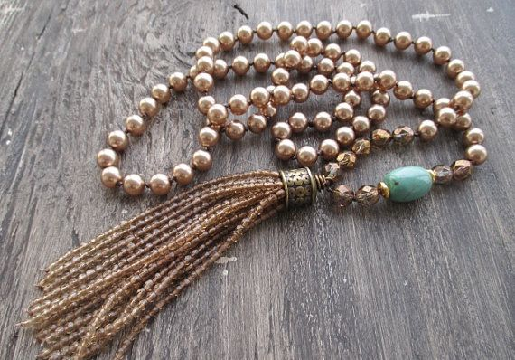 Nappa perla collana - bronzato bellezza - vetro marrone metallico perle ombre nappa boho annodato turchese di slashKnots