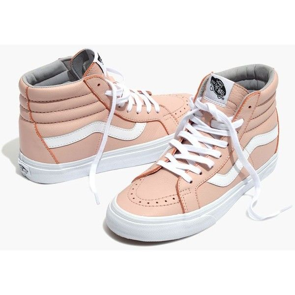 MADEWELL Vans® Unisex SK8-Hi Reissue High-Top Sneakers in Oxford Pink... ($80) ❤ liked on Polyvore featuring shoes, sneakers, oxford pink, oxford sneakers, oxford shoes, pink high tops, pink sneakers and pink oxford shoes