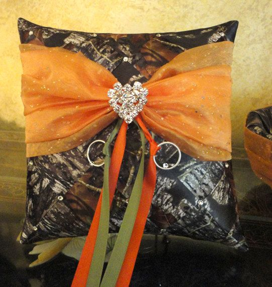 Wedding Ring Bearer Pillow Mossy Oak Ribbon Weave by SisiCreations, $48.00