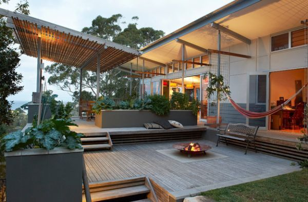 Modern hammock ideas outdoor fireplace