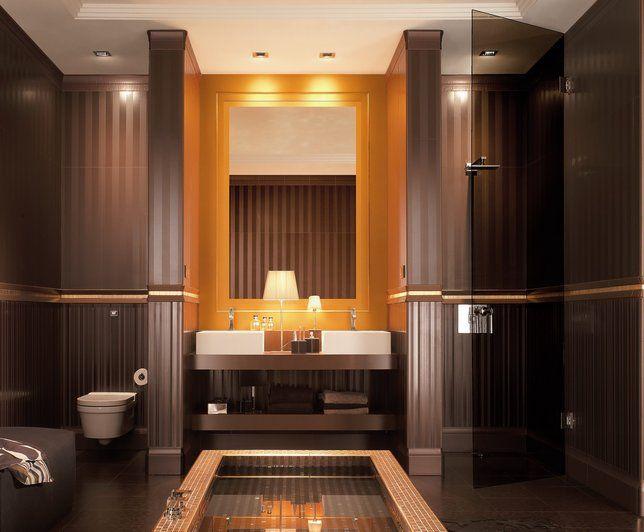 Photo deco salle de bains marron moderne visuels salle for Salle de bain urbaine