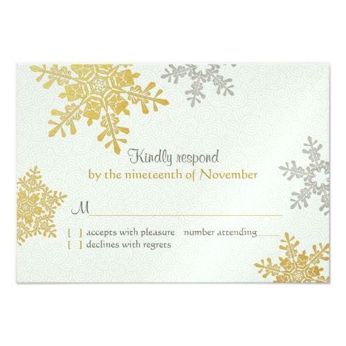 Winter Wedding RSVP Silver Gold Snowflake Winter Wedding Reply Card