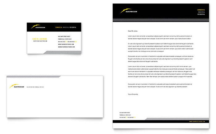 Electrician Business Card and Letterhead Template Design by StockLayouts