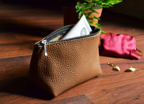 LEATHER COSMETIC POUCH  Small Brown Leather Clutch  Leather