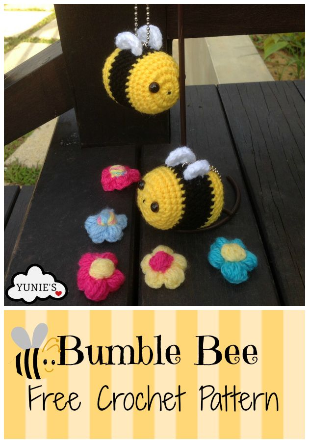 Bumble Beeis an easy projectCompleted bumble bee is approximately 6cm.Materials you need:A 3.5mm crochet HookYarn needleYarn - Yellow, whitea
