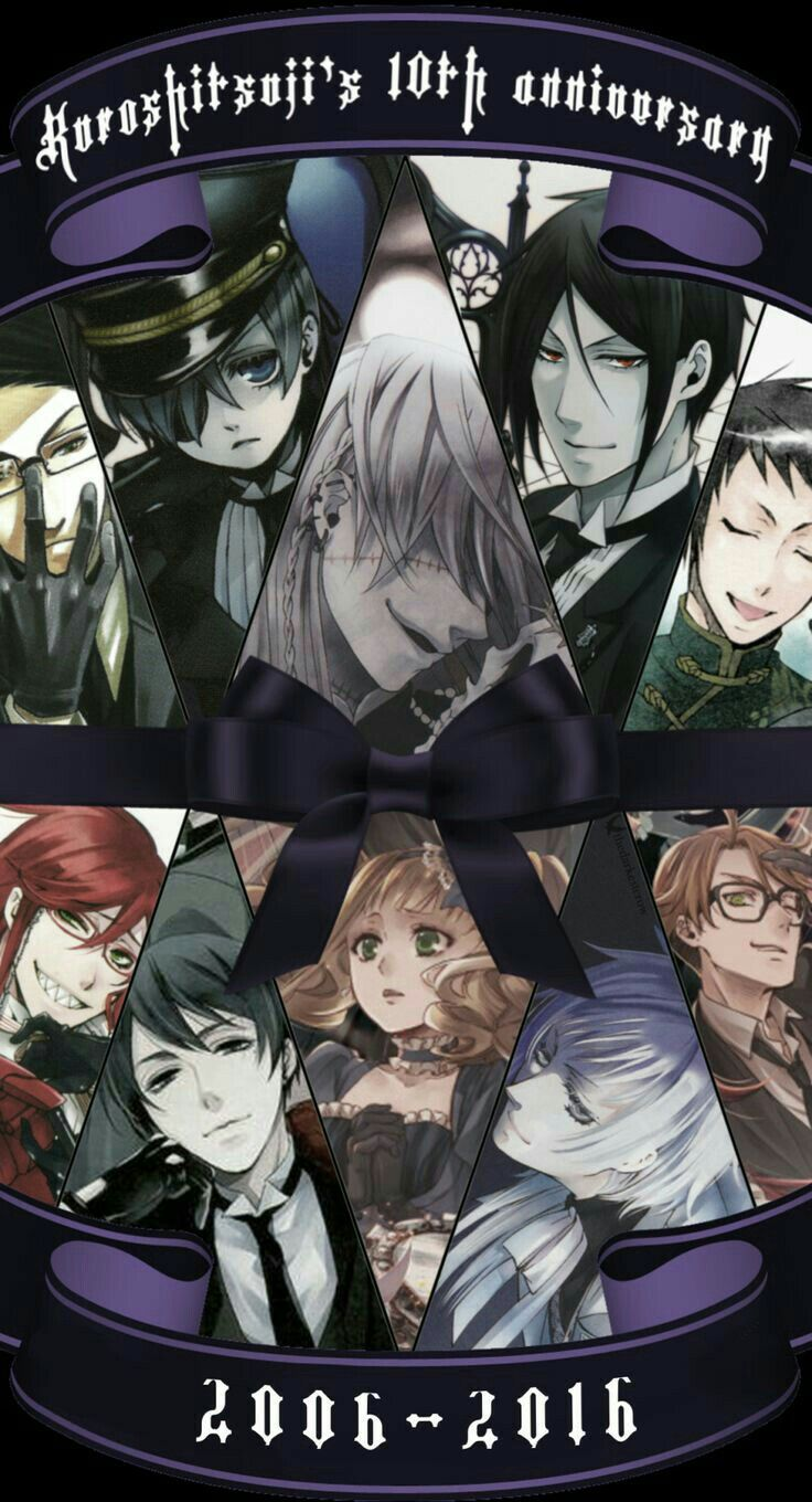 Black Butler 10th Anniversary, 2006 - 2016, text, Black Butler characters; Black Butler❤️  Don't forget the movie in 2017