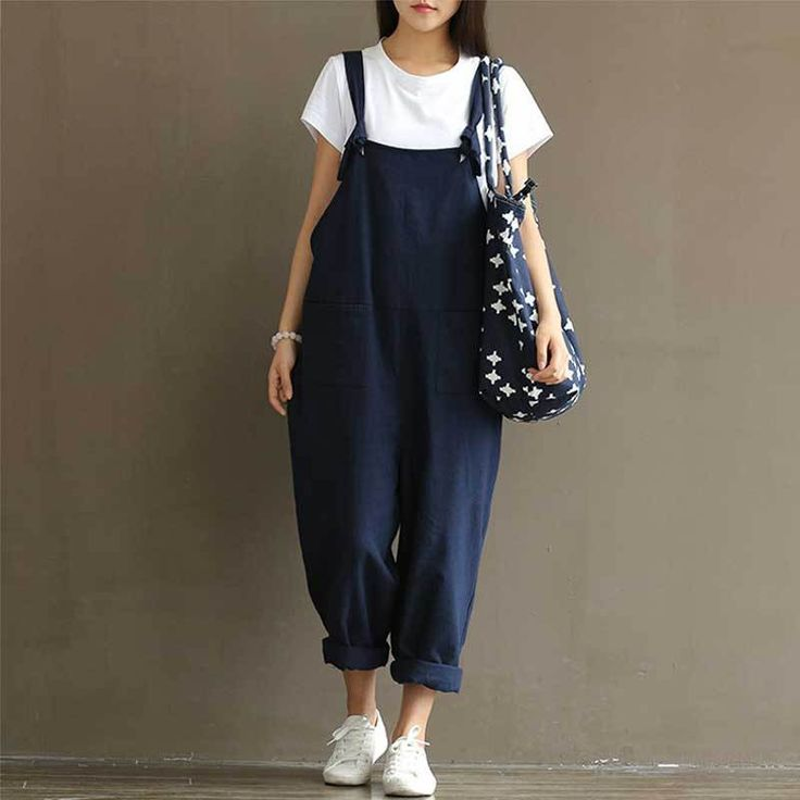 Fashion Women Loose Jumpsuit Strap Dungaree Harem Trousers Casual Overalls Pants