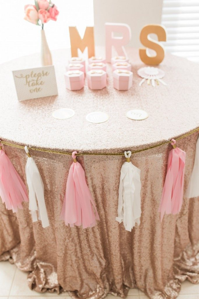 Blush + gold bridal shower idea {Courtesy of Best Friends for Frosting}