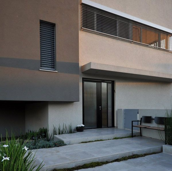 Impressive Hasharon House 1 Cubism Home Architecture By Sharon Neuman:  Fascinating Hasharon House Entrance Space With Concrete Footings Dark.