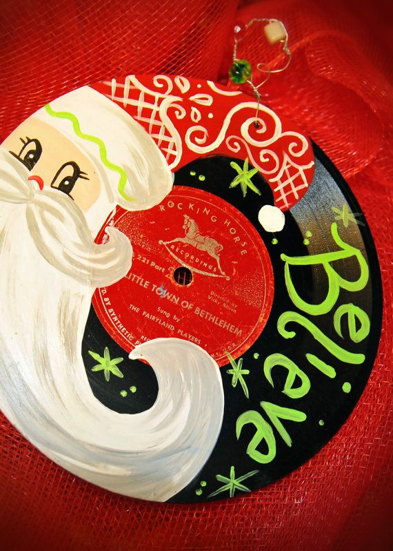 Hand painted vintage Christmas record - $18