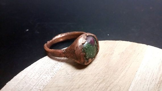 Copper Ring with Ruby in Zoisite Gemstone Copper by mssdelilah