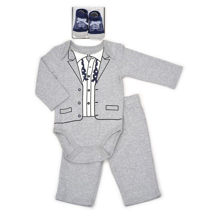 Baby Boy Vitamins Baby Tuxedo Bodysuit, Pants & Socks Set, Size: 6 Months, Grey