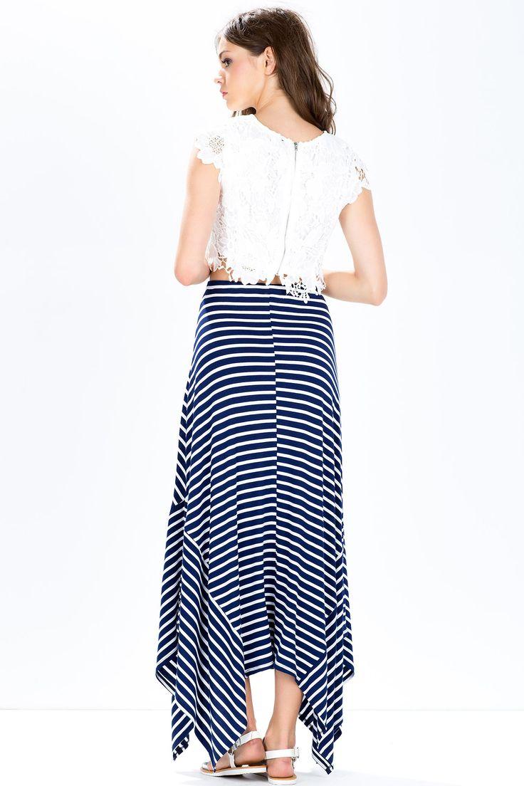 Полосатая юбка-макси Размеры: M, L Цвет: синий с принтом Цена: 1258 руб.  #одежда #женщинам #юбки #коопт