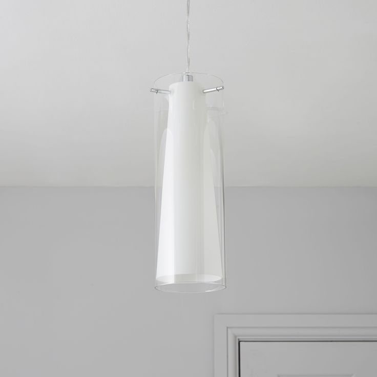 Kamara Tube White Pendant Ceiling Light | Departments | DIY at B&Q