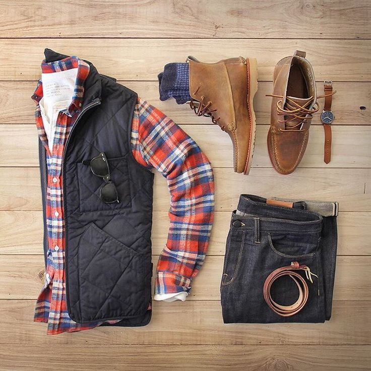 Outfit grid - Checks and body warmer