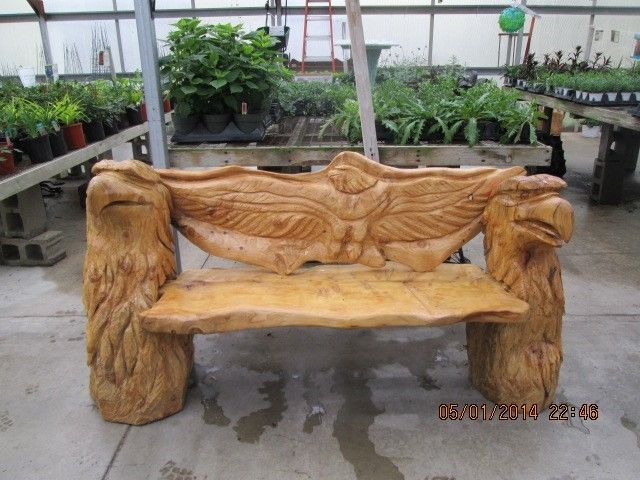 Chainsaw carved eagle bench garden chainsaw wood carving wood
