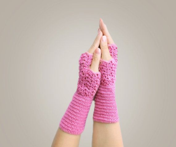 Winter Mittens  Crochet Fingerless Gloves  Dusty by SENNURSASA, $19.00