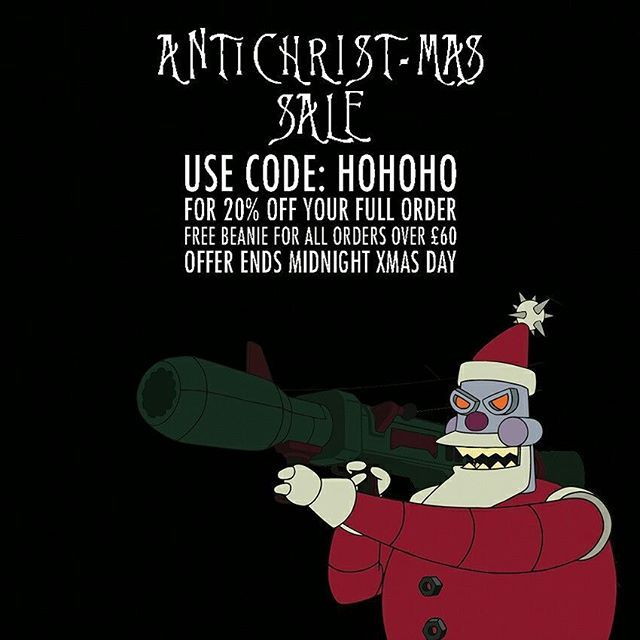 CRMC ANTICHRIST-MAS SALE Further reductions on many items at www.crmc-clothing.co.uk | WE SHIP WORLDWIDE  USE DISCOUNT CODE - HOHOHO - FOR 20% OFF YOUR FULL ORDER. FREE BEANIE WITH ALL ORDERS OVER £60  #christmas #christmas2016 #christmassale #christmasdeals #Christmasshopping #discounts #sale #antichrist #discount #antichristmas #santa #alternativegirl #alternativeboy #alternativeteen #blackwear #fashionstatement #altfashion #black #loveblack #fashion #evilsanta #hohoho #fashion