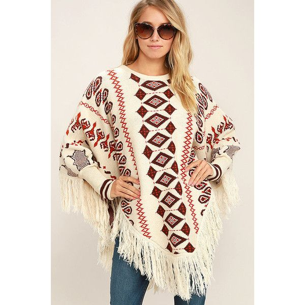 Get Groovy Cream Print Poncho Sweater ($58) ❤ liked on Polyvore featuring tops, sweaters, white, knit poncho, poncho sweater, white knit poncho, cream sweater and fringe sweater