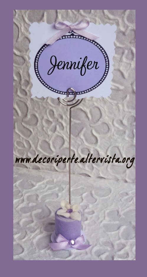 Lilac FELT mini wedding cake with lilac flower and crystals with the spiral wire card name holder