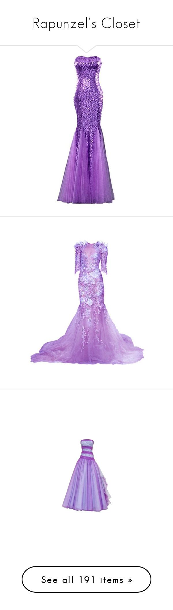 """""""Rapunzel's Closet"""" by summersurf2014 ❤ liked on Polyvore featuring dresses, gowns, purple, sparkle, night out dresses, going out dresses, ball dresses, prom party dresses, purple party dresses and long dresses"""