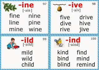 phonics flashcards for children long i sound