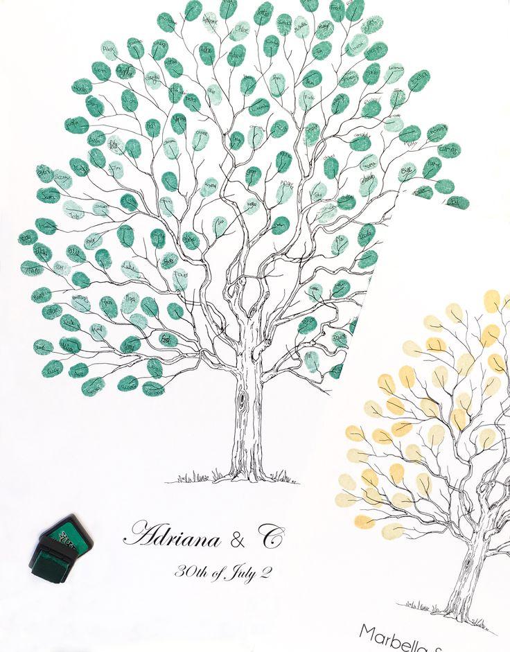 Wedding tree Fingerprint guest book. Elegant tree design by Daisywood A2 size