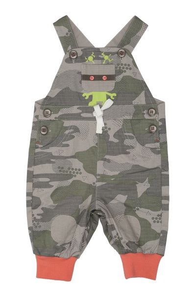 These fun overalls feature a robot print and all-over camo print pattern.