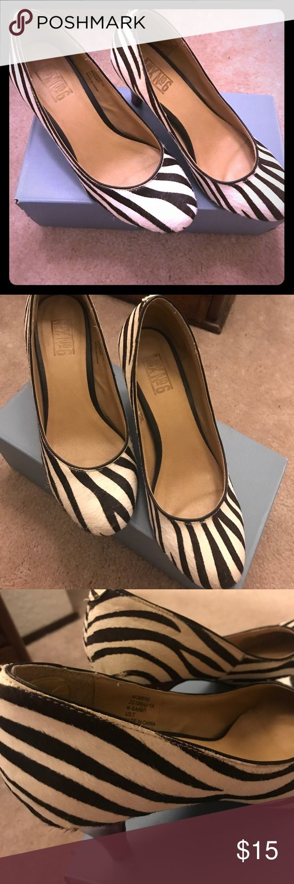 Adorable zebra heels 😍❤️ Wonderful condition! Cute zebra hair print. Nice sized heel. Little love on soles and heel as picture. Size 7! ❤️😊 Mix No. 6 Shoes Heels