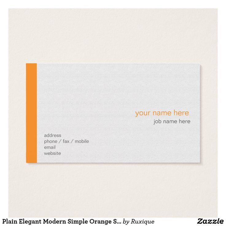 Plain Elegant Modern Simple Orange Stripe on White Business Card #Plain #Elegant #Modern #Simple #Orange #Stripe on White #Business #Card #BusinessCard #businesscardstemplate