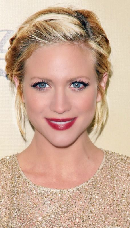 Brittany Snow, short hair. Maybe loosely braided on both sides?