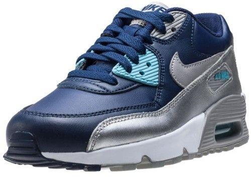 Nike Air Max 90 Ltr (GS) Binary/Blue/Matter/Silver Running Shoe 4.5 Kids US